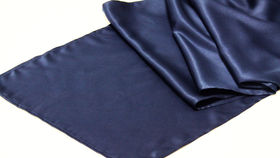 Image of a Table Runner, Matte Satin NAVY BLUE