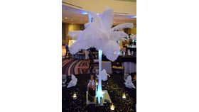 Image of a Ostrich Feather Centerpiece Eiffel Tower Vase