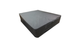 Image of a Black Leather Bed/Ottoman