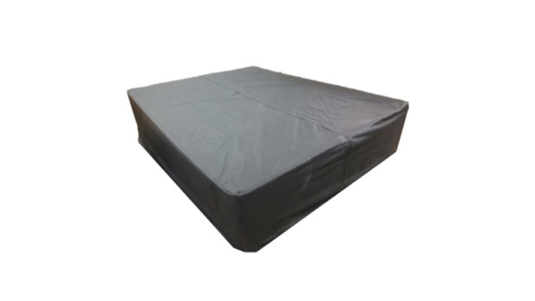 Picture of a Black Leather Bed/Ottoman