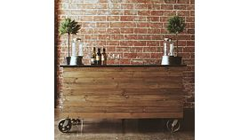 Image of a Custom Wooden Bar on Casters