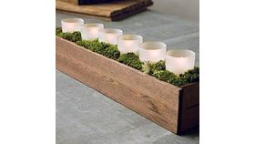 Image of a Wooden Box w/ LED Candles Centerpiece