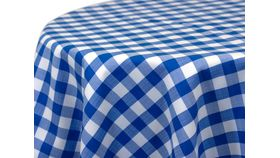 "Image of a 108"" Round Blue and White Picnic Check Tablecloths"