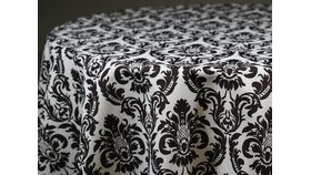 "Image of a Black and White Damask Runners 18"" x 112"" Pointed End"