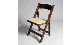 Image of a Walnut Wood Folding Chair (Padded Seat)