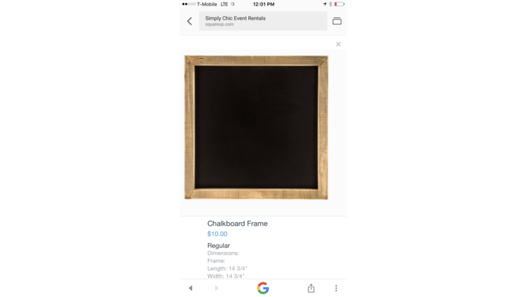 Picture of a Chalkboard Frame