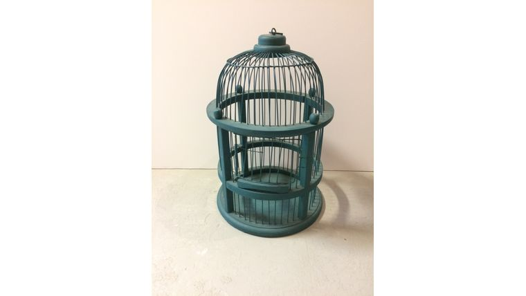 Image of a Turquoise Wood Bird Cage