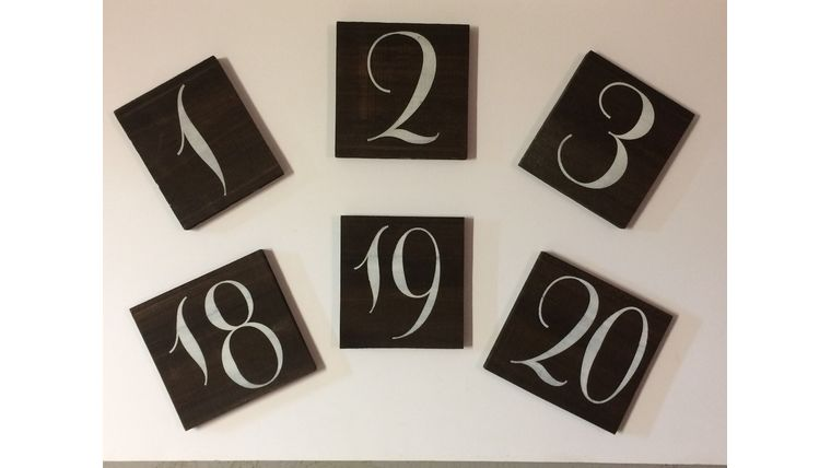 Picture of a Wooden Table Numbers