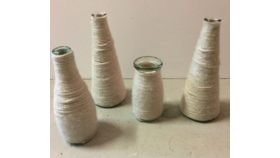 Image of a Cream Yarn Wrapped Vases