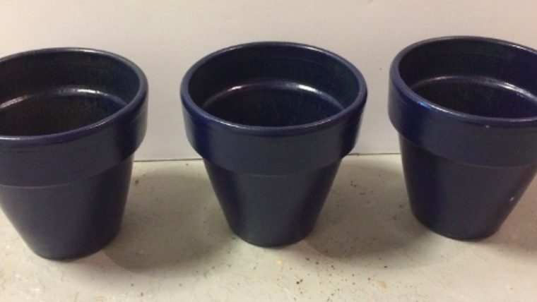 Picture of a Three Mini Blue Flower Pots