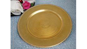 "Image of a 13"" Gold Beaded Charger Plate"