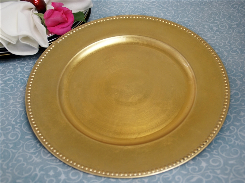 Picture of a 13  Gold Beaded Charger Plate & 13