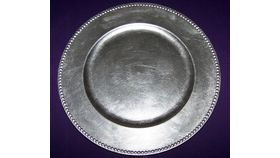 "Image of a 13"" Silver Beaded Charger Plate"