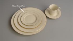 "Image of a 8"" Ivory Gold Rim Salad Dessert Plate"