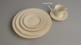 "Image of a 6"" Ivory Gold Rim Saucer"