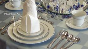 "Image of a 8"" White w/ Silver Rim Salad / Dessert Plate"