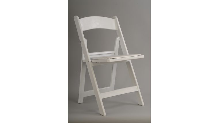 Image of a White Resin Folding Chair