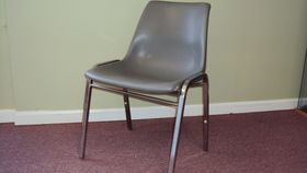 Image of a Gray Plastic Stacking Chair