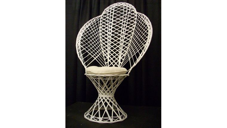 Image of a White Wicker Fan-back Chair