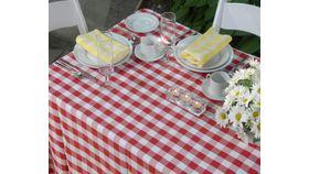 """Image of a Polyester - White & Red Check Tablecloths (90"""" x 156"""")"""