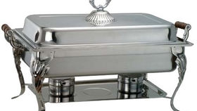 Image of a 8 qt Stainless Steel Rectangular Lift Top Chafing Dish