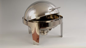 Image of a 6 qt Stainless Steel Round Roll Top Chafing Dish