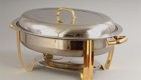 Image of a 6 qt Stainless Steel Oval Lift Top Chafing Dish with Gold Trim