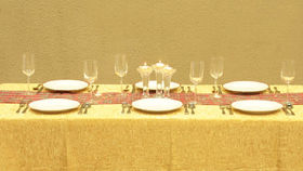 "Image of a Dolce Crush - Gold Tablecloths (108"" Round)"