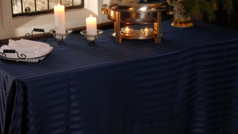 """Image of a Imperial Stripe - Navy Blue Tablecloths (132"""" Round)"""