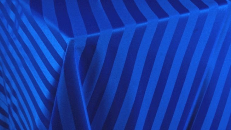 """Image of a Imperial Stripe - Royal Blue Tablecloths (132"""" Round)"""