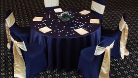 "Image of a Satin - Navy Blue Tablecloths (132"" Round)"