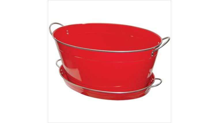 Picture of a Red Stainless Steel Ice Tub