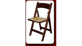 Image of a Mahogany Resin Folding Chair w/ Ivory Seat