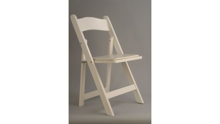 Picture of a White Wood Folding Chair (Indoor Use Only)