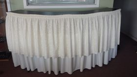 Image of a 7' Serpentine Bar w/ Ivory Skirt