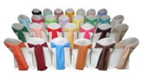 Image of a Solid Polyester Chair Sashes / Ribbons (Gold)