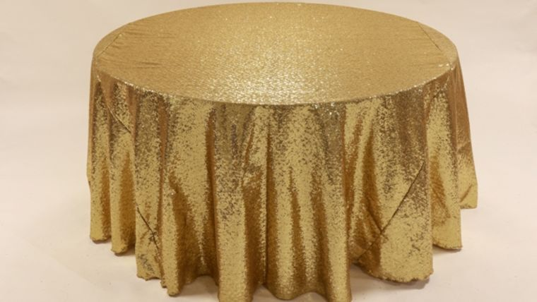 """Image of a Sequins - Gold Tablecloths (120"""" Round)"""