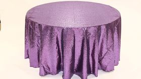 "Image of a Sequins - Violet Tablecloths (90"" Square)"