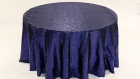 "Image of a Sequins - Navy Blue Tablecloths (120"" Round)"