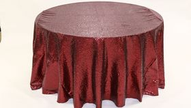 "Image of a Sequins - Crimson Tablecloths (120"" Round)"