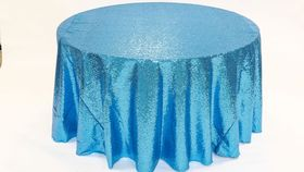 "Image of a Sequins - Turquoise Tablecloths (90"" Square)"