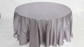 "Image of a Sequins - Silver Tablecloths (120"" Round)"