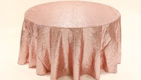 "Image of a Sequins - Blush Tablecloths (90"" Square)"