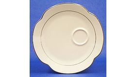 "Image of a Snack Plate 9"" - cream/gold (Holds Cup)"