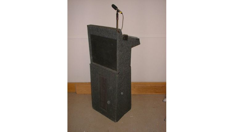 Picture of a Portable Rostrum w/ Mic and Speakers, battery powered