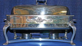 Image of a Silver Chafing Dish: Full Size w/8 qt. pan, lift top