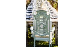 White Distressed Cane Back Chairs image