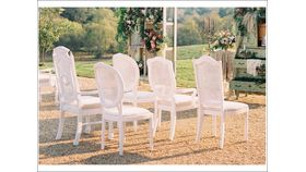 Image of a White Distressed Cane Back Chairs