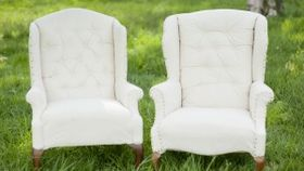 Image of a The Carsons: Cream Tufted Wingback Chairs