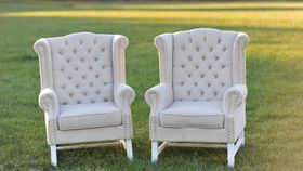 Image of a The Rosemarys: Linen Tufted Wingback Chairs